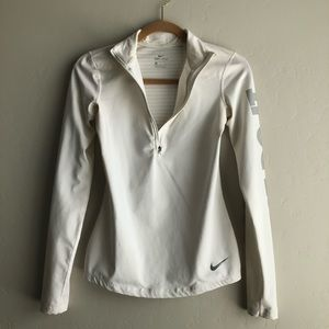 Nike white long sleeve workout top